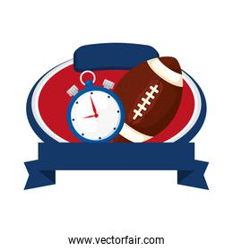 american football helmet and chronometer with ribbon isolated icon