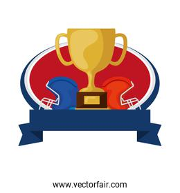 american football helmets and trophy with ribbon