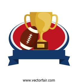 american football helmet with trophy and ribbon