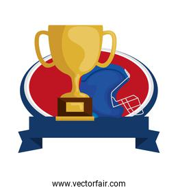 american football helmet and trophy with ribbon isolated icon