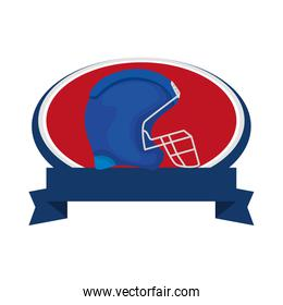 american football helmet with ribbon isolated icon