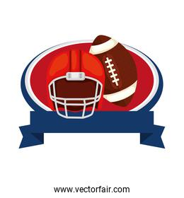 helmet and ball american football with ribbon isolated icon