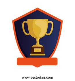 cup trophy award in shield isolated icon