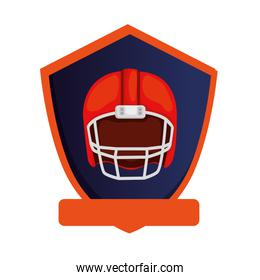 american football helmet in shield isolated icon
