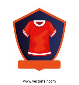 american football shirt in shield isolated icon