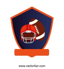 ball and helmet american football in shield isolated icon