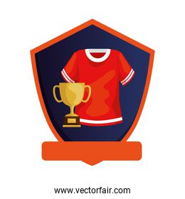 american football shirt with trophy in shield isolated icon