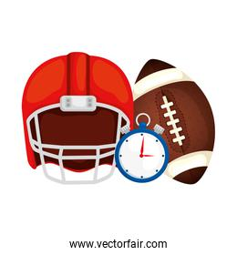 helmet with chronometer and ball american football