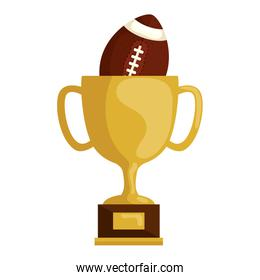 cup trophy with ball american football isolated icon
