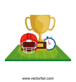 helmet with trophy and chronometer in field american football