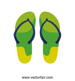 green and blue colors flip flops pair