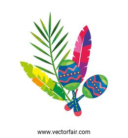 maracas with exotic feathers and tropical leaf