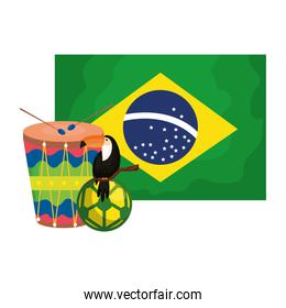 toucan and icons with flag brazil