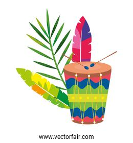 drum with exotic feathers and tropical leaf