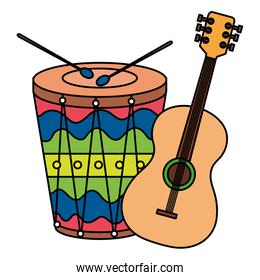guitar with drum instruments musical isolated icon