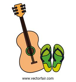 flip flops pair with guitar  isolated icon