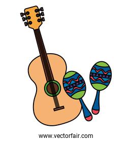 maracas with guitar musical instruments isolated icon
