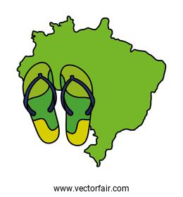 flip flops pair with map of brazil