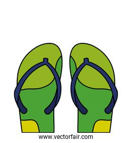 flip flops pair green and blue colors  isolated icon
