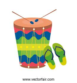 flip flops pair with drum isolated icon