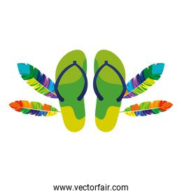 flip flops pair with exotic feathers