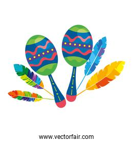 maracas with exotic feathers isolated icon