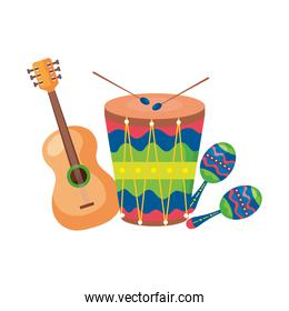 maracas with guitar and drum musical instruments