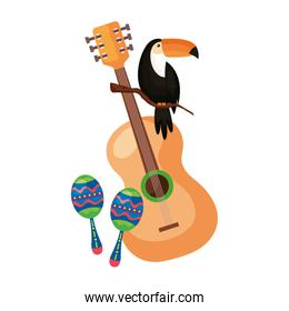 maracas with guitar and toucan isolated icon