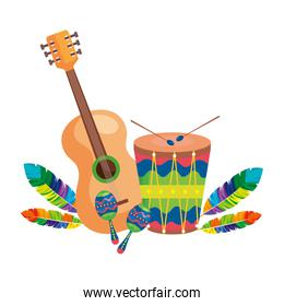 guitar with drum and maracas isolated icon