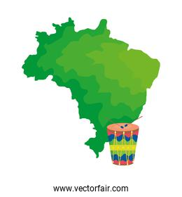 drum instrument musical with map of brazil