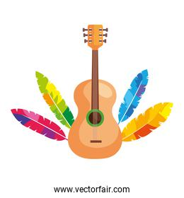guitar with exotic feathers isolated icon