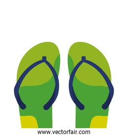 flip flops green and blue colors