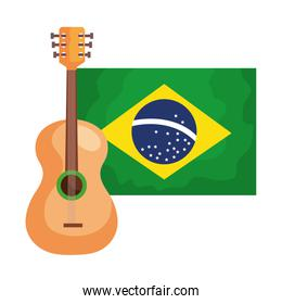 guitar with flag brazil isolated icon
