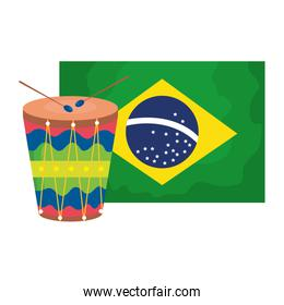 drum with flag brazil isolated icon