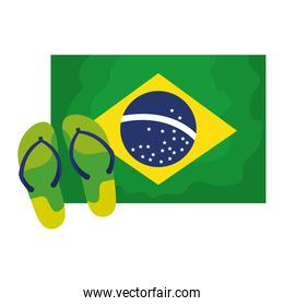 flip flops with flag brazil isolated icon