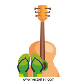 flip flops pair with guitar instrument  isolated icon