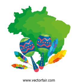 maracas with map of brazil isolated icon