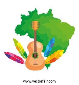 guitar with map of brazil isolated icon