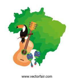 guitar and icons with map of brazil