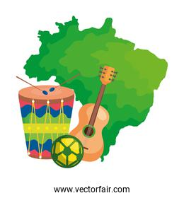 drum and icons with map of brazil