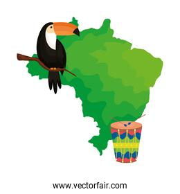 toucan and drum with map of brazil