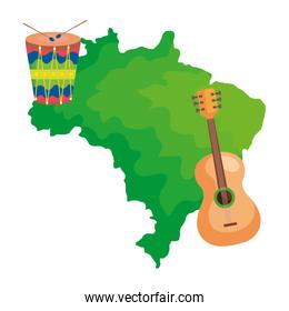 guitar and drum with map of brazil isolated icon