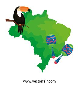 toucan and maracas with map of brazil