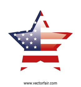 united states flag in shape star