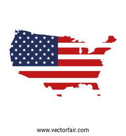 map of usa with flag isolated icon