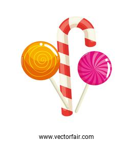 set of sweet lollipop with candy cane
