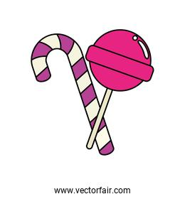 sweet lollipop with candy cane   icon