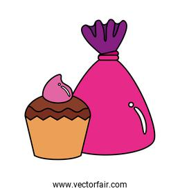 delicious cupcake with candy isolated icon