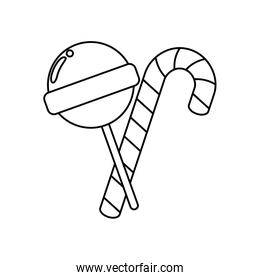 sweet lollipop with candy cane isolated icon