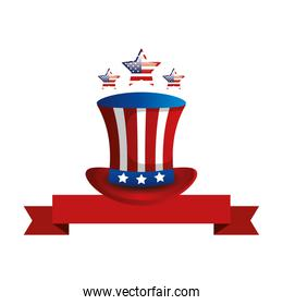top hat traditional of usa with ribbon